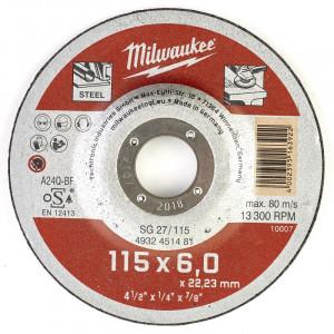 Шлифовальный диск по металлу  Milwaukee SG 27 / 115 x 6 x 22 мм (1шт)