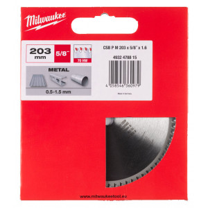 Диск для циркулярных пил по металлу Milwaukee CSB P M 203x5/8x1.6x70 (1шт)