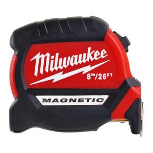 Рулетка метрическая/футовая магнитная Milwaukee Premium 8 м/ 26 фт x 27 мм (1шт)