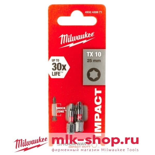 Биты для шуруповерта Milwaukee Shockwave Impact Duty TX10 х 25 мм (2шт)