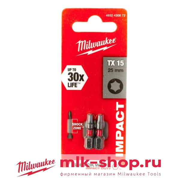 Бита Milwaukee Shockwave Impact Duty TX15 х 25 мм (2шт)