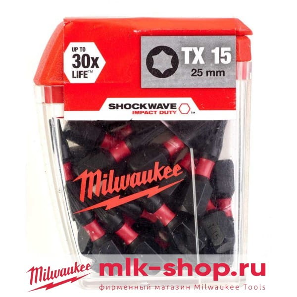 Биты для шуруповерта Milwaukee Shockwave Impact Duty TX15 х 25 мм (25шт)