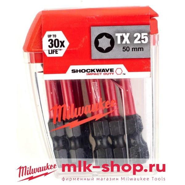 Биты для шуруповерта Milwaukee Shockwave Impact Duty TX25 х 50 мм (10шт)