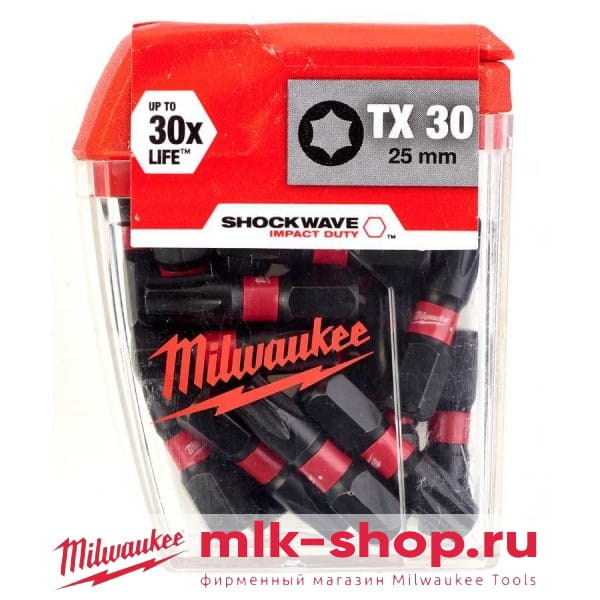 Биты для шуруповерта Milwaukee Shockwave Impact Duty TX30 х 25 мм (25шт)