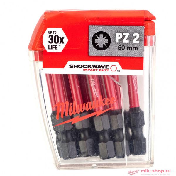 Бита для шуруповерта Milwaukee Shockwave Impact Duty PZ2 x 50 мм (10шт)