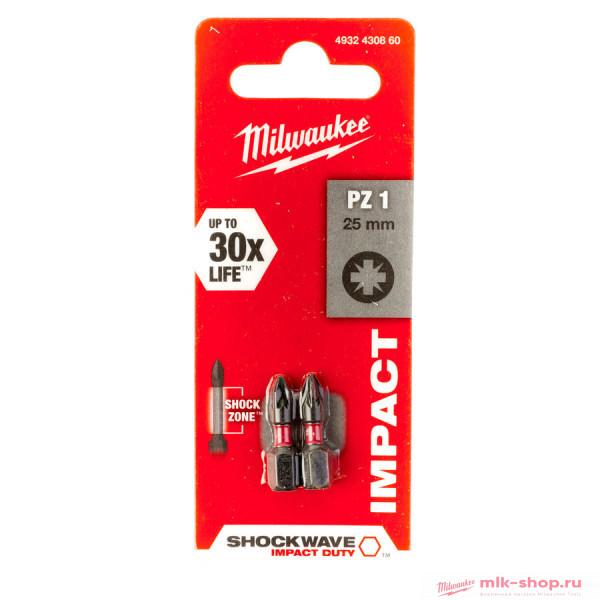 Бита Milwaukee Shockwave PZ1 x 25 мм (2шт)
